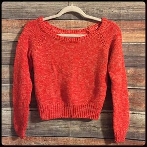 American eagle outfitters red & white crop sweater